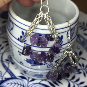 Beautiful Amethyst purple drop earrings on chain